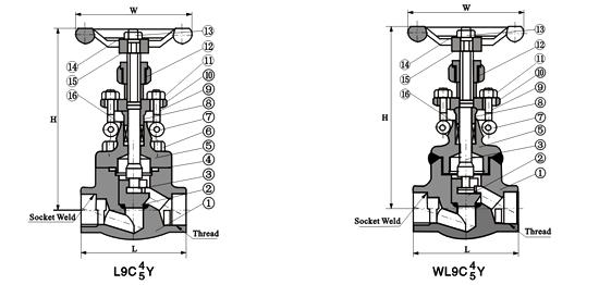 ,(焊接式阀盖),尺寸