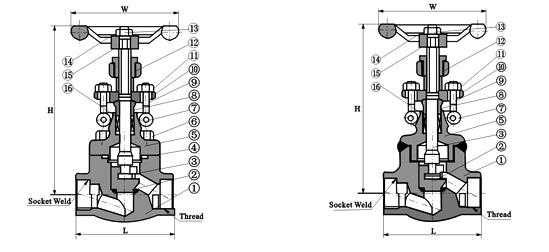 锻钢截止阀(螺栓式阀盖),承插焊锻钢截止阀