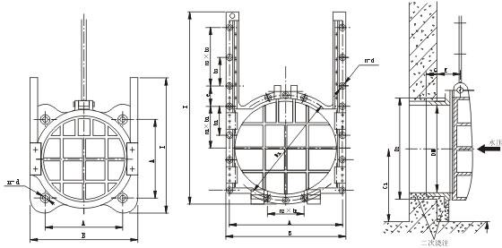 铸铁镶铜圆闸门图