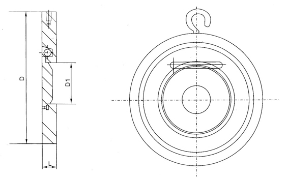 H74H不锈钢对夹止回阀结构图